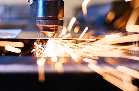 CNC Laser Cutting of Metal with Sparks - Modern Industrial Technology