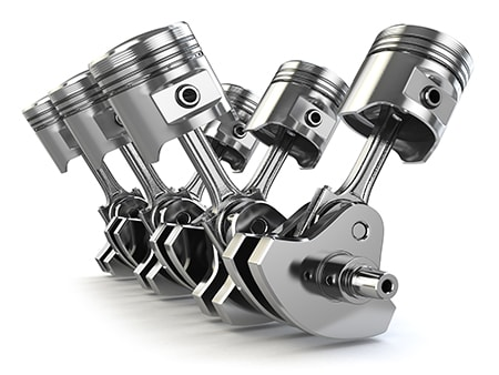 V6 Engine Pistons and Crankshaft